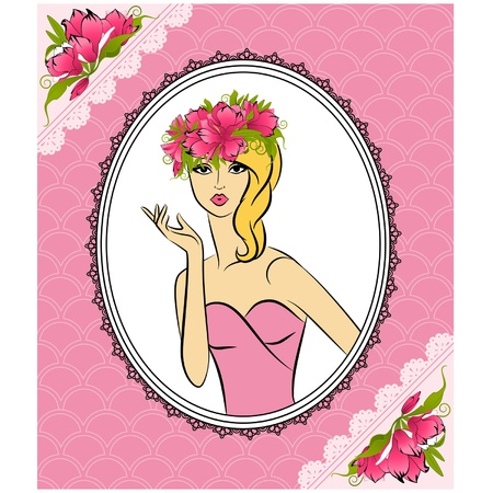 Beautiful silhouette of girl with flowers on tapestry background Stock Vector - 14907744