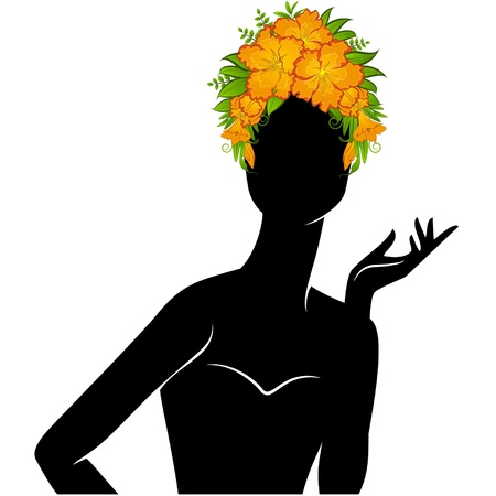 Beautiful silhouette of girl in hat from flowers on white background  Vector