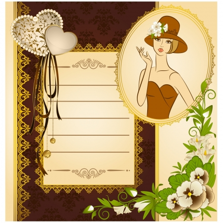 Beautiful silhouette of woman on vintage background with flowers  Vector