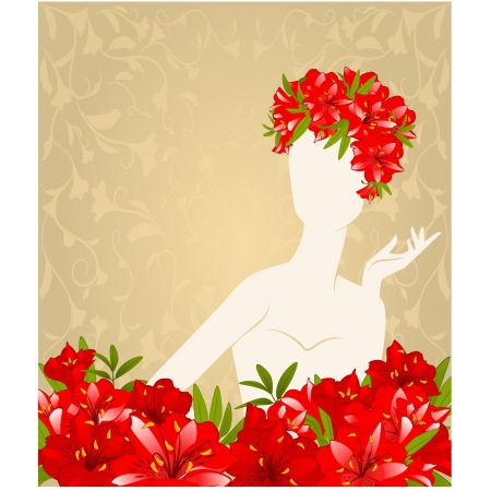 Beautiful silhouette of girl on tapestry background with flowers  Vector