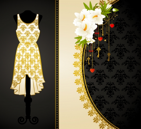 Vintage dress with lace ornaments and flowers Stock Photo - 14907809