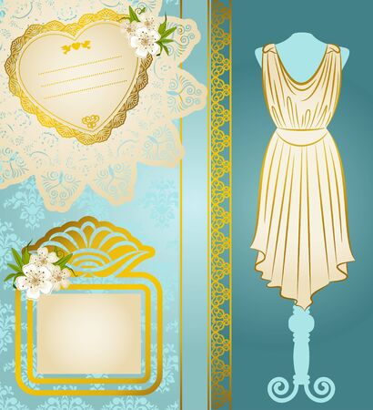 Vintage dress with lace ornaments and flowers Stock Photo - 14907810