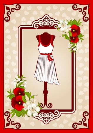 Vintage dress with lace ornaments and flowers photo