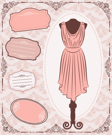 pink dress: Vintage dress with lace ornaments