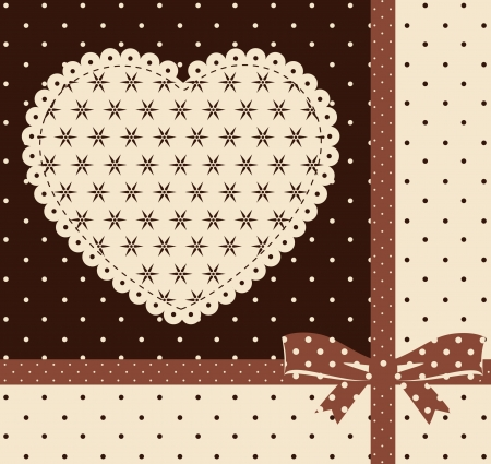 lace frame: Vintage background with ornaments and heart Stock Photo