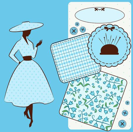 Vintage sewing elements with woman s silhouette on the background  Stock Photo - 16966718