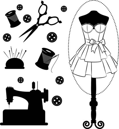 manequin: Vintage sewing related elements on the background  Stock Photo