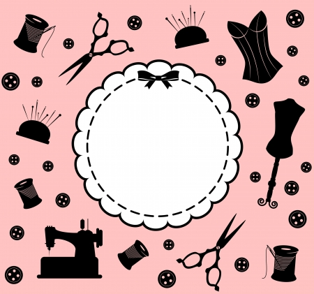 manequin: Vintage sewing related elements on the background