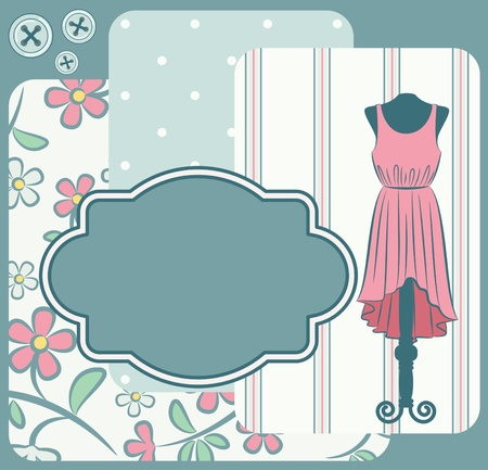 Fashionable dress with flowers and ornaments on the background
