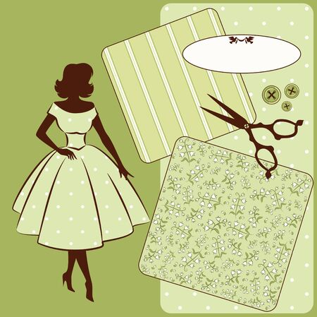 Vintage sewing elements with woman s silhouette on the background   photo