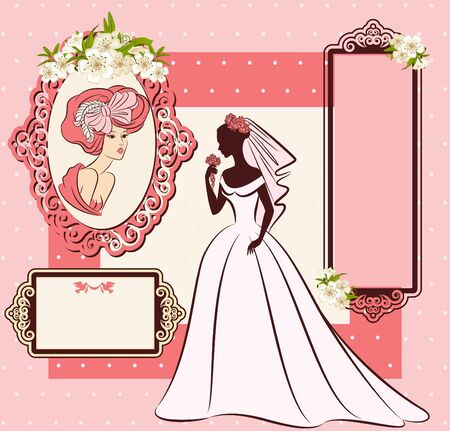 Vintage silhouette of beautiful bride in dress Stock Photo - 16848621