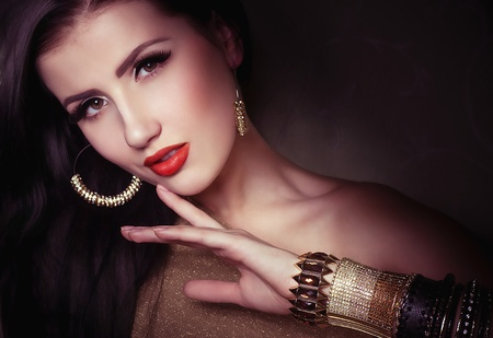 Fashion woman with jewelry bijouterie  Fashion portrait Stock Photo