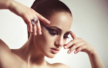 Fashion woman with jewelry bijouterie  Fashion portrait photo