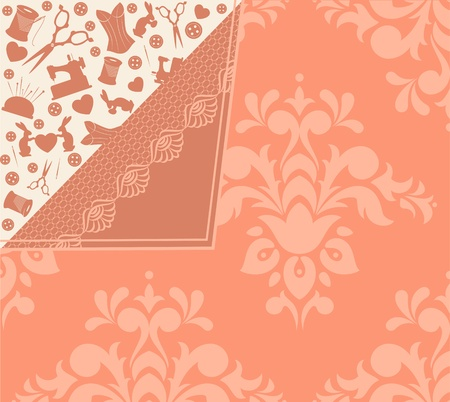 Vintage background with lace ornaments photo