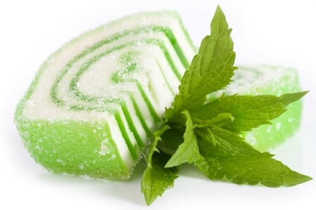 sugar paste: Tasty jelly candy with mint on the white