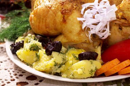 感謝祭の日の野菜とロースト チキン