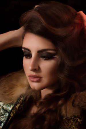 メイク ファッション ポートレートと美しい若い女性 写真素材