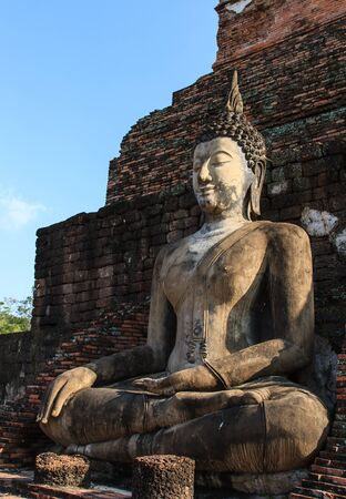 An ancient Buddha image at Sukhothai historical park, Thailand Stock Photo - 16492499