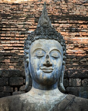 An ancient Buddha image at Sukhothai historical park, Thailand Stock Photo