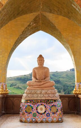 Buddha image at  Wat Phra That Pha Kaew  at Khao Kho, Phetchabun Thailand Stock Photo