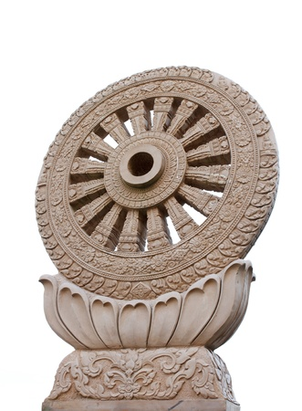 Wheel of Dhamma isolated on white background Stock Photo