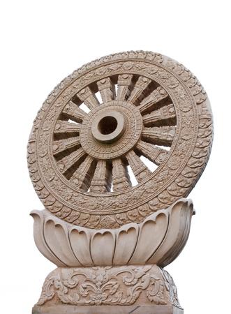 dhamma: Wheel of Dhamma isolated on white background Stock Photo