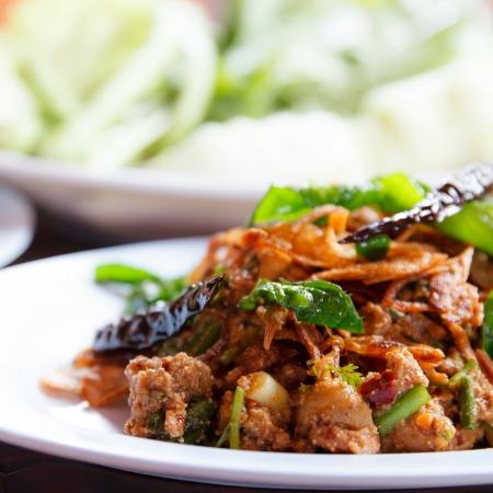 plato de comida: Lab, pato carne picada con sabor picante, la comida tailandesa Foto de archivo