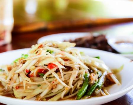 Thai papaya salad,on white plate,Thai food Stock Photo - 16492506