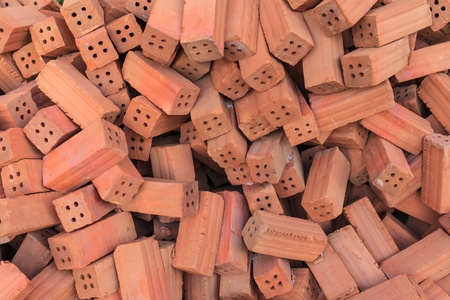 pile of bricks square for construction materials Stock Photo