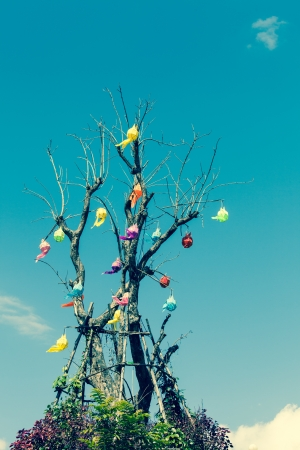 Tree with Thai traditional lantern under blue sky Stock Photo - 17182623