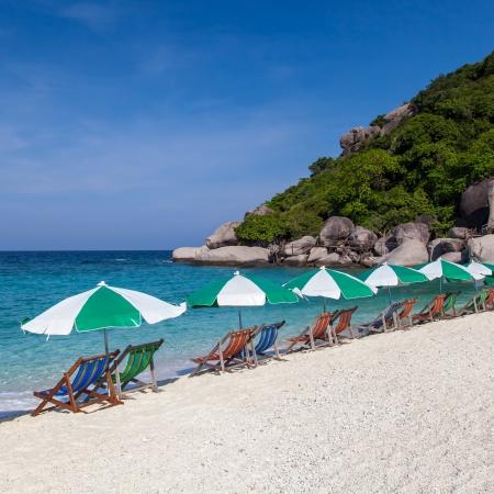 colorful beach chair with sun umbrella,Thailand