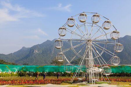 A white ferris wheel in farm, front view Stock Photo