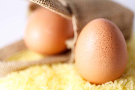 chicken egggs on yellow rice
