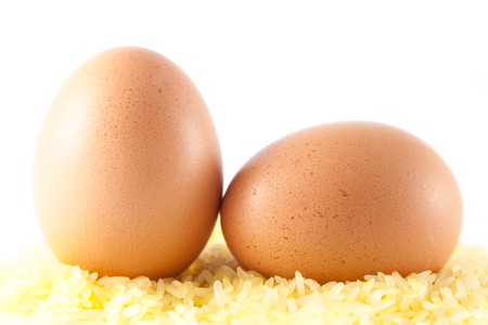 closed-up an eggs on yellow rice Stock Photo