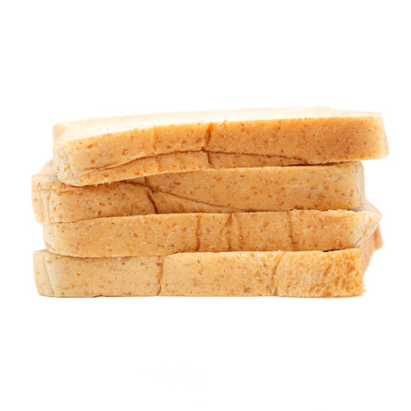 loaf of sliced wholewheat bread isolated on white Stock Photo