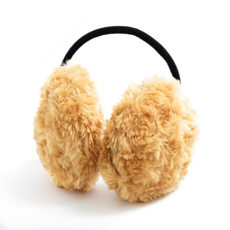 Brown Fuzzy Earmuffs Isolated on White
