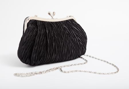 designer bag: Black shoulder clutch back isolated on white