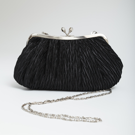 Black shoulder clutch back isolated on white Stock Photo