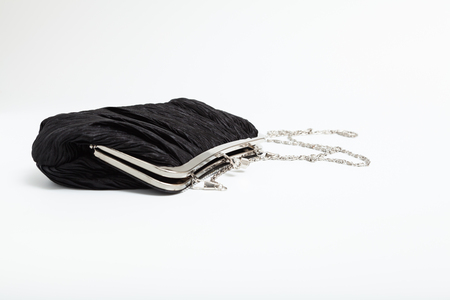 Black shoulder clutch back isolated on white background Stock Photo