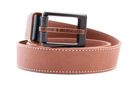 used belt, brown, isolated on white