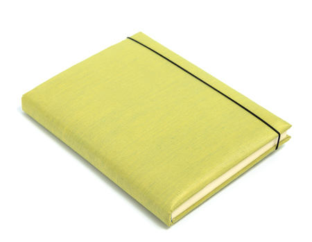 Green notebook isolated on white background Stock Photo
