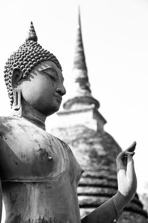 An ancient Buddha image at Sukhothai historical park, Thailand Stock Photo