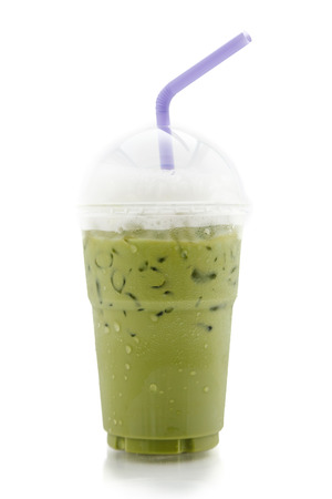 ice green tea with whipped cream isolated on white background