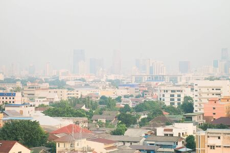 Air pollution from Lots of dust or PM2.5 particle exceeds the standard at Bangkok, Thailand. Negative effect on Respiratory system and health.