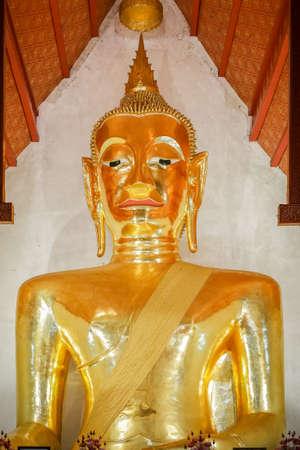 Phitsanulok, Thailand - August 18 2020 Phra jao ton luang or Gold buddha statue at Wat si khom kham, Phayao, Thailand . Beautiful of historic city at Buddhism temple.