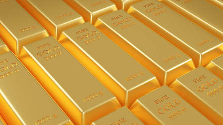 Stack of Fine gold bars weight of 1000 grams. Financial concept. 3D rendering illustration.