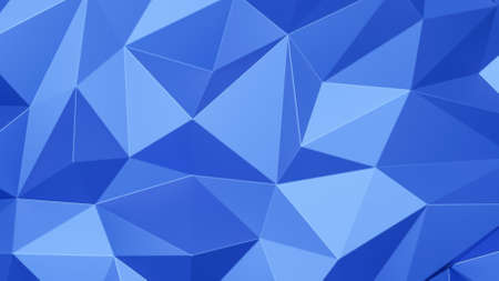 Blue triangle low polygon. Pink geometric triangular polygonal. Abstract mosaic background. 3D Rendering illustration. Stock Photo