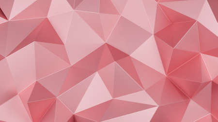 Rose gold triangle low polygon. Pink geometric triangular polygonal. Abstract mosaic background. 3D Rendering illustration. Stock Photo