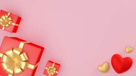 Red and gold heart and Close red gift box with gold ribbon. Valentine's day concept. 3D Rendering illustration