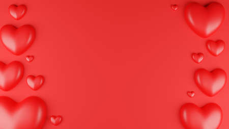 Top view of Red heart with frame on red background. Valentine's day concept. 3D Rendering illustration.